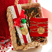 Classic Christmas Tinsel Trim Wrapped Gift Package, medium