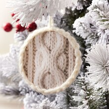 Pinecone Lodge Cable Knit Paper Christmas Ornament, medium
