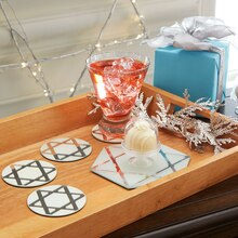 Star of David Frosted Mirror Coasters, medium