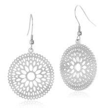 ELYA High Polished Floral Stainless Steel Dangle Earrings, medium