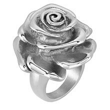 ELYA Blooming Rose Polished Stainless Steel Ring, Size 8
