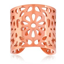 ELYA Rose Gold IP Floral Stainless Steel Open Ring Size 8