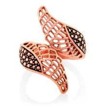 ELYA Rose Gold IP Angel Wings Bypass Stainless Steel Ring Size 8