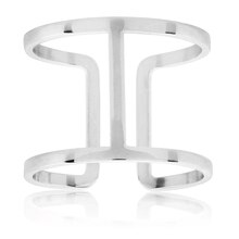 ELYA Polished Geometric Stainless Steel Open Bar Ring, Size 8