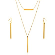 Goldtone Double Layer Bar Necklace and Earrings Set, medium