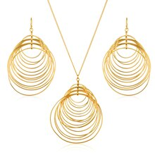 Goldtone Crescent Circles Necklace and Earrings Set