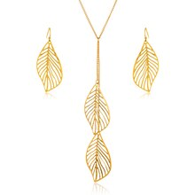 Goldtone Leaf Drop Necklace and Earrings Set