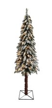 6 Ft. Pre-Lit Flocked Alpine Artificial Christmas Tree, Clear Lights