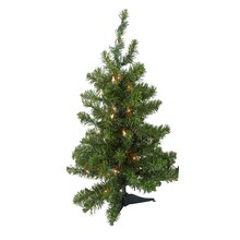 2 Ft. Pre-Lit Natural Two-Tone Pine Artificial Christmas Tree, Clear Lights Lit