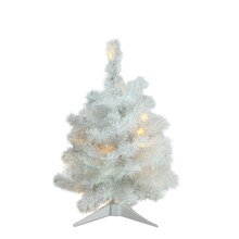 "18"" Pre-Lit Snow White Artificial Christmas Tree, Candlelight Clear LED Lights"
