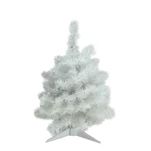 "18"" Pre-Lit Snow White Artificial Christmas Tree, Multicolor Lights"