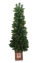 4 Ft. Pre-Lit Fancy Potted Aurora Pine Artificial Christmas Tree, Clear Lights, medium