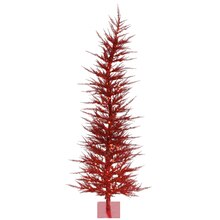 4 Ft. Pre-Lit Whimsical Red Tinsel Artificial Christmas Tree, Clear Lights, medium