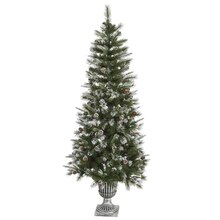 6.5 Ft. Frosted Country Pine Cone Potted Artificial Christmas Tree, Unlit
