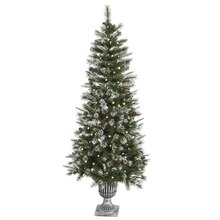 6.5 Ft. Pre-Lit Frosted Country Pine Cone Potted Artificial Christmas Tree, Clear