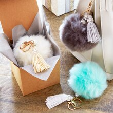 Fur Pom Beaded Keychain, medium