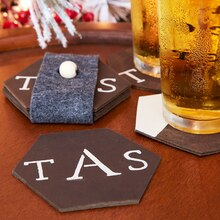 Stenciled Leather Coaster Set, medium