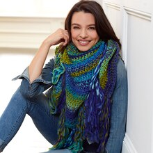 Loops & Threads® Facets Capri Blue Crochet Triangle Scarf, medium