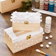 Peppermint Lane Decorated Wood Gift Boxes, medium