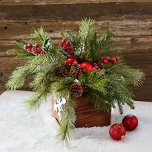 Red and Green Christmas Floral Arrangement, medium