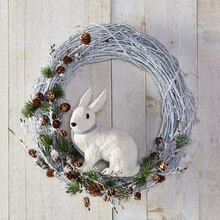 White Rabbit Christmas Wreath, medium