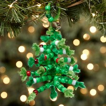 Beaded Chenille Stem Christmas Tree, medium