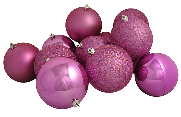 12ct Bubblegum Pink Shatterproof 4-Finish Christmas Ball Ornaments ...