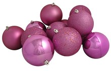 "12ct Bubblegum Pink Shatterproof 4-Finish Christmas Ball Ornaments 4"", medium"