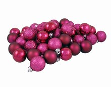 "60ct Red Raspberry Shatterproof 4-Finish Christmas Ball Ornaments 2.5"", medium"