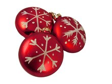 "3ct Snowfall Valley Shatterproof Red Disc Snowflake Christmas Ornaments 4"", medium"