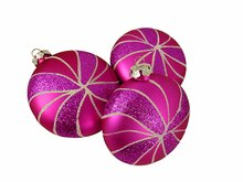 "3ct Candy Fantasy Shatterproof Matte Pink Magenta Swirl Christmas Ornaments 4"", medium"