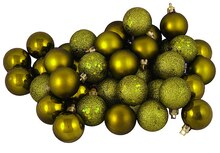 60ct Olive Green Shatterproof 4-Finish Christmas Ball Ornaments, medium
