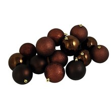 "60ct Chocolate Brown Shatterproof 4-Finish Christmas Ball Ornaments 2.5"", medium"