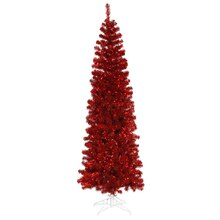 7.5 Ft. Pre-Lit Red Artificial Pencil Tinsel Christmas Tree, Red Lights, medium