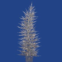 6 Ft. Pre-Lit Sparkling Whimsical Silver Artificial Christmas Tree, Clear Lights