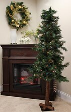 7 Ft. Pre-Lit Woodland Alpine Artificial Christmas Tree, Multicolor Lights