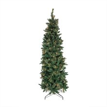 7 Ft. Pre-Lit Cashmere Mixed Pine Pencil Artificial Christmas Tree, Clear Lights