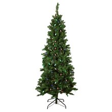 7 Ft. Pre-Lit Single Plug Slim Mixed Long Needle Pine Artificial Christmas Tree, Multi-Function LED Lights, medium