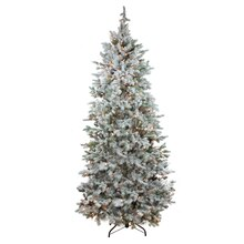 7.5 Ft. Pre-Lit Flocked Slim Colorado Spruce Artificial Christmas Tree, Clear Lights