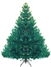 7.5 Ft. Pre-lit Shimmering Blue Green Peacock Tinsel Christmas Tree