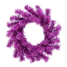 "6"" Mini Purple Artificial Tinsel Christmas Wreath, medium"