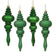 "8ct Xmas Green 4-Finish Regal Shatterproof Finial Christmas Ornaments 7"", medium"