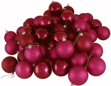 "24ct Red Raspberry Shatterproof 4-Finish Christmas Ball Ornaments 2.5"", medium"