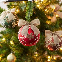 Burlap Bow Christmas Ornaments, medium