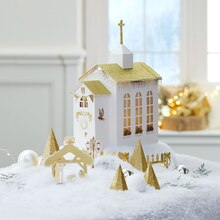 Christmas Paper House Gold Church, medium