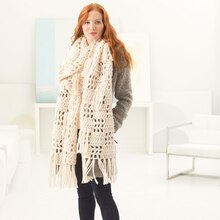 Lion Brand® Wool-Ease® Thick & Quick® Lorelei Fringed Crochet Super Scarf, medium