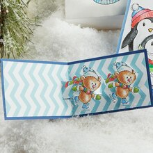 Skating Bears Pop Up Christmas Card, medium