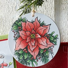 Merry Poinsettia Ornament, medium