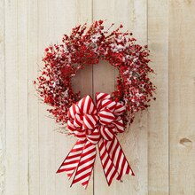 Striped Bow Berry Wreath, medium