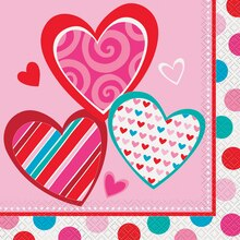 Bright Hearts Valentine Luncheon Napkins, 16ct